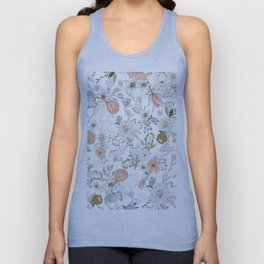Abstract modern coral white pastel rustic floral Unisex Tank Top