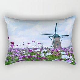 Windmill and Tulips Rectangular Pillow