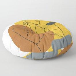 Minimal Line Art Woman Figure III Floor Pillow