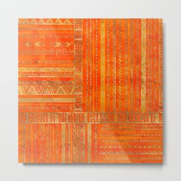 Tribal Ethnic pattern gold on bright orange Metal Print