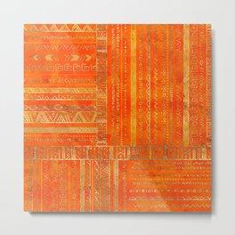Tribal Ethnic pattern gold on bright orange Metal Print
