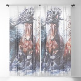 Horses watercolor Sheer Curtain