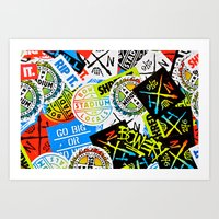 sticker Art Prints featuring Sticker Collage by Chris Klemens