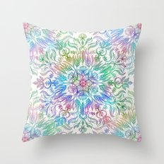 Nature Mandala in Rainbow Hues Throw Pillow