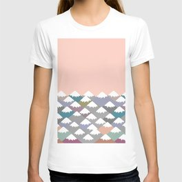 Nature background with Mountain landscape. Gray, pink, blue navy mountain with snow-capped peaks. T-shirt
