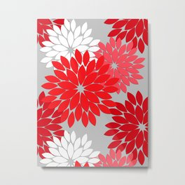 Modern Floral Kimono Print, Coral Red and Gray Metal Print