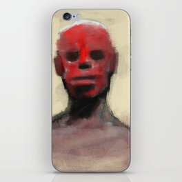 Ritual human tribe close up man face war paint iPhone Skin
