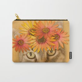 Tabby Cat with Daisy Flower Crown, Mustard Yellow Background Carry-All Pouch