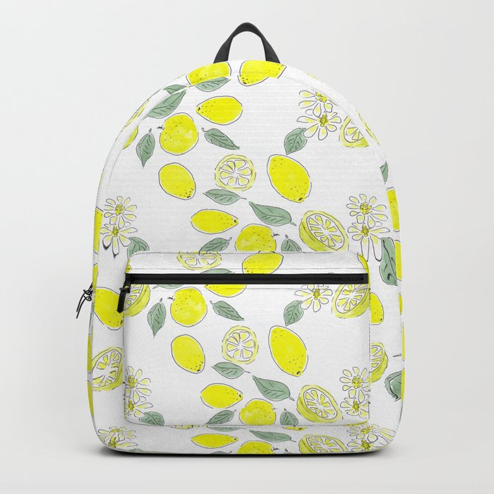 Watercolor . Lemon . Backpack