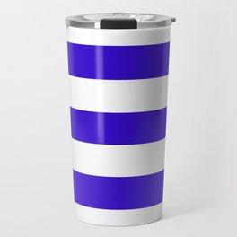 Interdimensional blue -  solid color - white stripes pattern Travel Mug