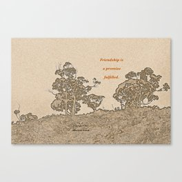 """""""Catalina Trees #2"""" with poem: Simple Friendship Canvas Print"""