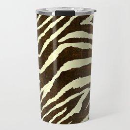 Animal Print Zebra in Winter Brown and Beige Travel Mug