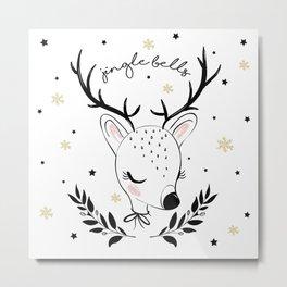 Cute christmas deer illustration. Metal Print
