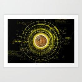 Bitcoin Blockchain Cryptocurrency Art Print