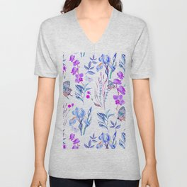Modern purple blue watercolor hand painted orquid butterfly Unisex V-Neck