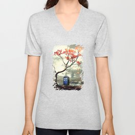 Tardis Art And The Tree Blossom Unisex V-Neck