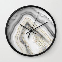 White Agate Gold Foil Glam #1 #gem #decor #art #society6 Wall Clock