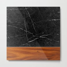 Marble and Wood Metal Print