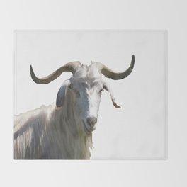 Portrait of a Horned Goat Grazing Vector Throw Blanket