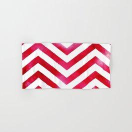 Red And White Chevron Stripes Hand & Bath Towel