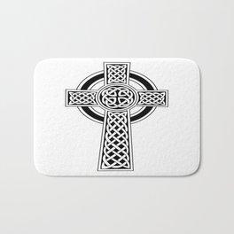 St Patrick's Day Celtic Cross Black and White Bath Mat