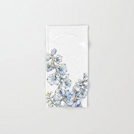 Blue Delphinium Flowers Hand & Bath Towel