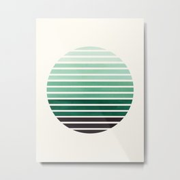 Deep Green Mid Century Modern Minimalist Scandinavian Colorful Stripes Geometric Pattern Round Circl Metal Print