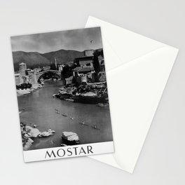 retro monochrome Mostar Jugoslavija retro poster Stationery Cards