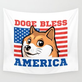 Doge Bless America Wall Tapestry