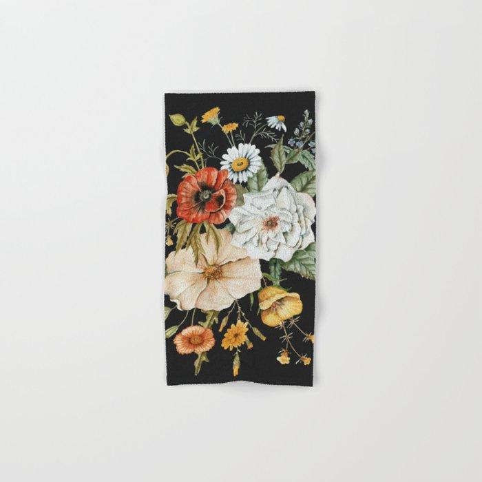 Wildflower Bouquet on Charcoal Hand & Bath Towel