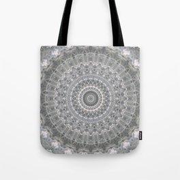 Mandala in white, grey and silver tones Tote Bag