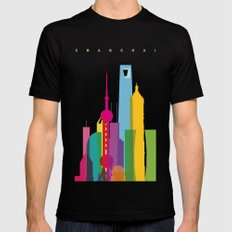 Shapes of Shanghai. Accurate to scale Mens Fitted Tee MEDIUM Black
