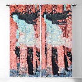 12,000pixel-500dpi - Eugene Grasset - Three women and three wolves - Digital Remastered Blackout Curtain