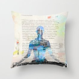 Yoga Book. Lesson 1 Concentration - painting - art print  Throw Pillow