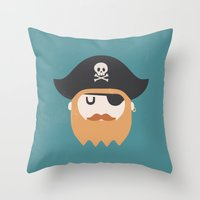 pirate Throw Pillows featuring Pirate by Beardy Graphics