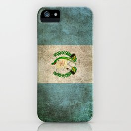 Old and Worn Distressed Vintage Flag of Guatemala iPhone Case