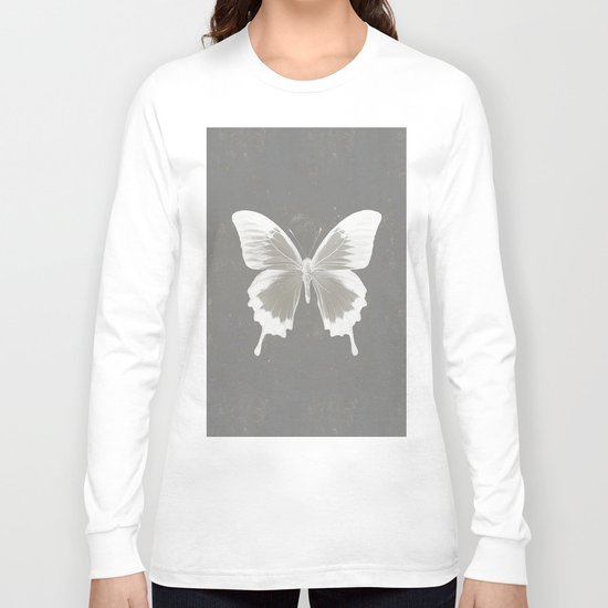 Butterfly on grunge surface Long Sleeve T-shirt