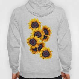 Sunflowers yellow navy blue elegant colorful pattern Hoody