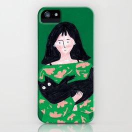 Black Cat Snuggles iPhone Case