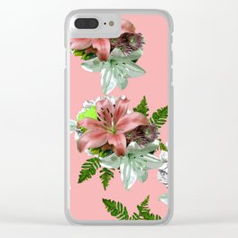 LILY PINK AND WHITE FLOWER Clear iPhone Case