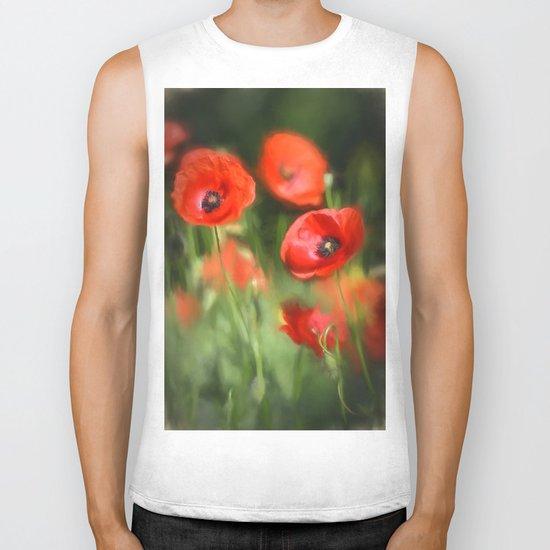 Warmth- Floral Flower Poppies in love- Poppy flowers #Society6 Biker Tank