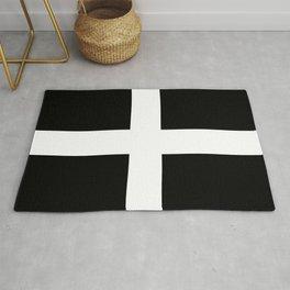 Saint Piran's Flag of Cornwall UK Rug