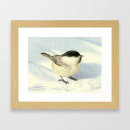 Chilly Chickadee Framed Art Print