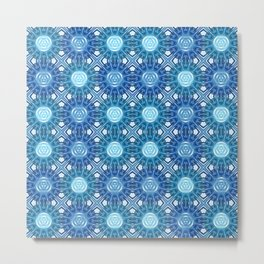 Neuronic Blue Sunburst Pattern Metal Print