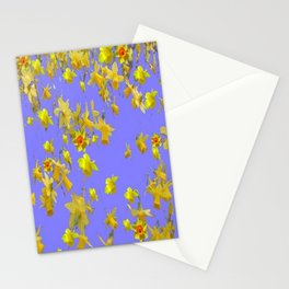 Yellow Daffodils Jonquils Narciscus Flowers Lilac Art Stationery Cards