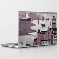 travel poster Laptop & iPad Skins featuring Edinburgh Travel Poster Illustration by ClaireIllustrations