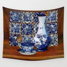 Blue Willow Stillife Wall Tapestry