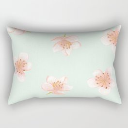 Pale Pink Cherry Blossoms On Pastel Robin's Egg Blue Continuos Rectangular Pillow