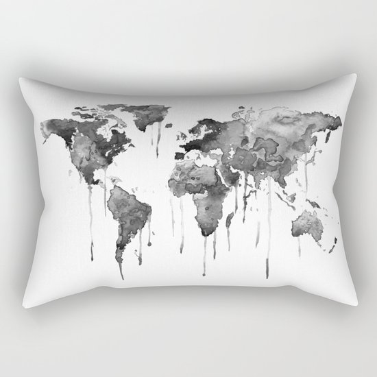 World map 2, black and white Rectangular Pillow