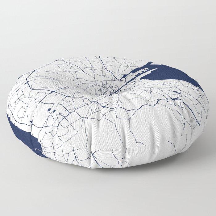 White on Navy Blue Dublin Street Map Floor Pillow